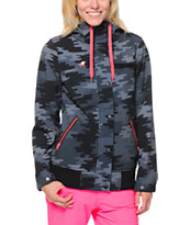 Glamour Kills Powderhorn Camo Print Black Softshell Jacket