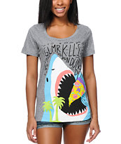 Glamour Kills Snack Attack Heather Grey Tee Shirt