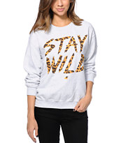 Glamour Kills Stay Wild Leopard Ash Crew Neck Sweatshirt