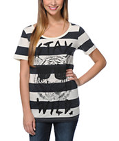 Glamour Kills Stay Wild Natural & Black Stripe Tee Shirt
