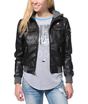 Glamour Kills The Tay Black Faux Leather Bomber Jacket