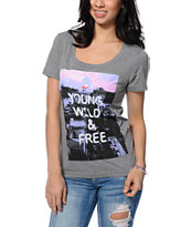 Glamour Kills Urban Adventurers Grey Scoop Neck Tee Shirt