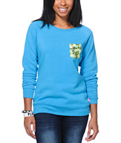 Glamour Kills Wild Free Camo Pocket Blue Crew Neck Sweatshirt