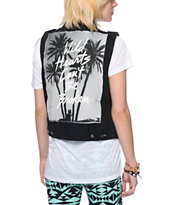 Glamour Kills Wild Hearts Black Denim Vest