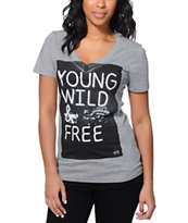 Glamour Kills Young Wild Free Grey V-Neck Tee Shirt