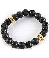 Gold Gods Lion Lava Stone Bracelet