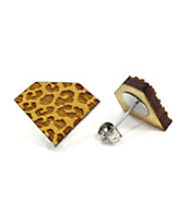 Goodwood NYC Diamond Cheetah Yellow Wood Stud Earrings
