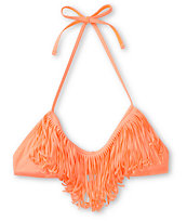 Gossip Coral Fringe Bralette Halter Bikini Top