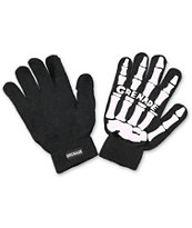 Grenade Skull Black & White Knit Gloves