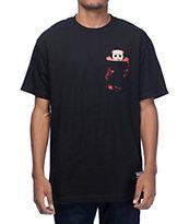 Grizzly Blood Splatter Black Pocket T-Shirt