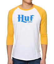 HUF Authentic White & Mustard Baseball Tee Shirt