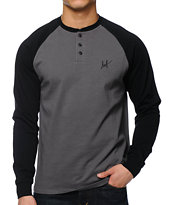 HUF Baker Black & Charcoal Long Sleeve Henley Shirt
