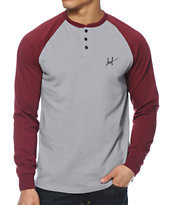 HUF Baker Burgundy & Grey Henley Long Sleeve Shirt