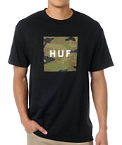 HUF Camo Box Logo Black Tee Shirt