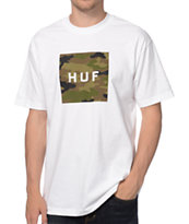 HUF Camo Box Logo White Tee Shirt