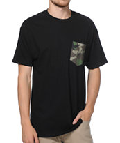 HUF Camo Script Black Pocket Tee Shirt