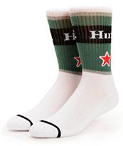 HUF Can Green & White Crew Socks