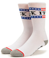 HUF Fuck It White Crew Socks