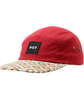 HUF Hex Diamond Print Burgundy 5 Panel Hat