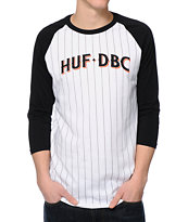 HUF League Black, White & Orange Baseball Tee Shirt
