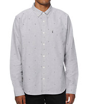 HUF Monogram Grey Long Sleeve Button Up Shirt