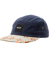 HUF Native Print & Navy Blue Duck Canvas 5 Panel Hat