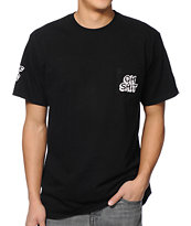HUF Oh Shit Black Pocket Tee Shirt