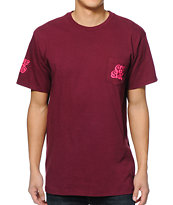 HUF Oh Shit Burgundy Pocket Tee Shirt