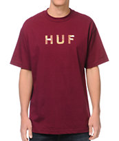 HUF Original Logo Burgundy & Camo Fill Tee Shirt
