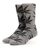 HUF Plantlife Heather Grey & Black Crew Socks