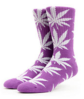 HUF Plantlife Purple & White Crew Socks