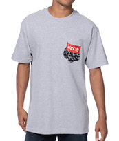 HUF Protest Pocket Heather Grey Tee Shirt