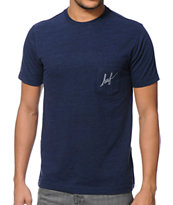 HUF Small Script Navy Pocket Tee Shirt