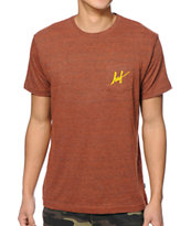 HUF Small Script Orange Pocket Tee Shirt