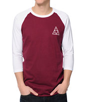 HUF Triple Triangle Burgundy & White Baseball Tee Shirt