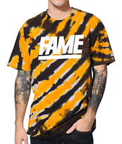 Hall Of Fame Tiger Stripe Orange & Black Tie Dye Tee Shirt