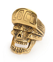 Han Cholo Loco Skull Gold Ring