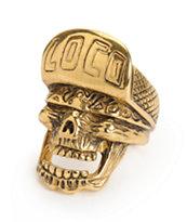 Han Cholo Loco Skull Gold Ring