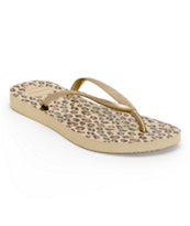 Havaianas Slim Gold Animal Print Flip Flops