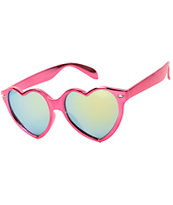 Heart Attack Metallic Red & Yellow Sunglasses