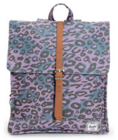 Herschel Supply City Purple Leopard Print 7L Mid-Volume Backpack