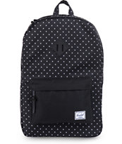 Herschel Supply Co Heritage Black Polka Dot Backpack