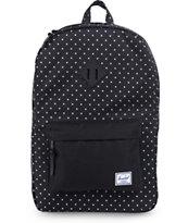 Herschel Supply Co Heritage Black Polka Dot Backpack