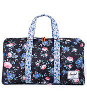 Herschel Supply Novel Black Floral Duffle Bag