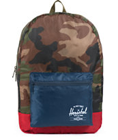 Herschel Supply Woodland Camo, Blue, & Red Packable Backpack