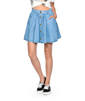 Highway Jeans Button Up Denim Skater Skirt