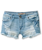 Highway Jeans Caroline Medium Wash Destructed Denim Shorts