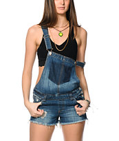 Highway Jeans Dark Wash Destroyed Overall Shorts