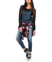 Highway Jeans Dark Wash Destructed Denim Overalls