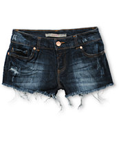 Highway Jeans Dark Wash Destructed Denim Shorts
